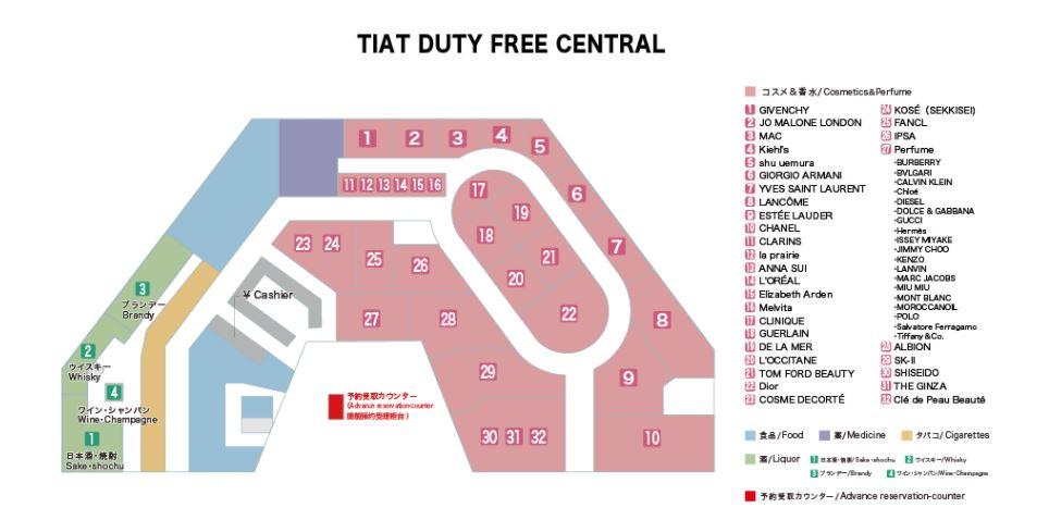 TIAT DUTY FREE CENTRAL地図 Dior