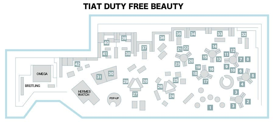 TIAT DUTY FREE BEAUTY店内図